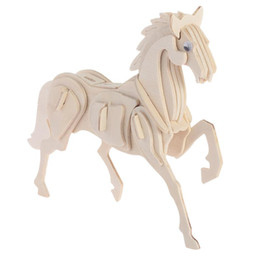 Wholesale Funny D Jigsaw Puzzle Wooden Animal Horse Wooden Puzzles Jigsaw Horse Shape DIY Educational Toy Children Funny Gift p0633