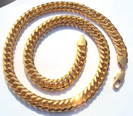 Wholesale best buy fine jewelry Heavy MENS K Solid Yellow Gold FILLED FINISH THICK MIAMI CUBAN LINK NECKLACE CHAIN