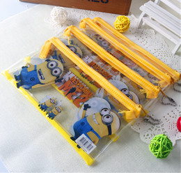 Wholesale Pencil pouch pen bag cartoon pencil case minion students pen boxes kids Princess Christmas gift free sipping