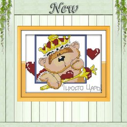 Wholesale Andrew bear lovely animals diy decor painting counted Print on canvas DMC CT CT Cross Stitch Needlework kits embroidery Sets