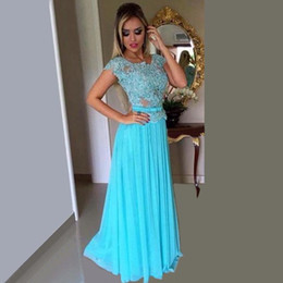 2016 New Turquoise Light Blue Chiffon Prom Dresses Elegant Bridesmaid Dress With Lace Appliques Cap Sleeves Formal Long Evening Dresses