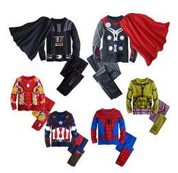 Children's Cotton Cartoon Captain America Iron Man spider-man Pajamas Baby Boys Sleepwear Kids Super Heros+Cloak clothes set