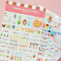 Wholesale 6Pcs Set Lovely Multifunction Stickers Korea Stationery Painting Life Diary Sticker Simple Cute Wall Sticker Notebook Gallery Cup Stickers
