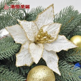 Wholesale 18cm Golden Lace Simulation Flower Artificial Flower For Christmas Wreaths Decoration Xmas Tree Accessories Home Decor