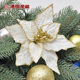 Wholesale 18cm Golden Lace Simulation Flower Artificial Flower For Christmas Wreaths Decoration Xmas Tree Accessories Home Decor