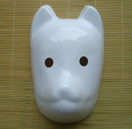Wholesale Fox Mask Endulge Japanese PVC Mask Full Face Halloween Masquerade Cosplay Party Masks White Can Be Painted