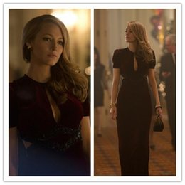 Wholesale 2016 Beautiful Blake Lively Dresses Age of Adaline Film Sheath Sexy V Neck Short Sleeve Sweep Train Long Formal Dresses Party Evening Gowns
