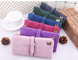 Wholesale Casual Day Dresses For Women - New luxury fashion leather wallets purses for women Vintage buckles dull polish Wallet handbags Clutch bags credit card holder 5pcs free