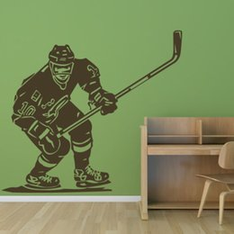 Wholesale ome Decor Wall Sticker Hot Front Hockey Player Sports Wall Art Sticker Decal Home DIY Decoration Wall Mural Removable Bedroom Decor Stick