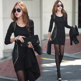 Women Long Sleeve Pencil Dress Autumn Winter Leather Patchwork OL Dress Evening Party Dress Plus Size 36
