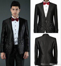 New Black Sequins Custom Made Groom Tuxedos Jacket+Vest+Pant+Tie Mens Clothing Designer Suits Blazers Yellow Champagne (Jacket+Pants)