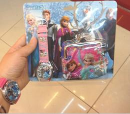 Wholesale Newest Frozen Watch Sets Anna Elsa Wallet in Purse Kids Fashion Quartz Cartoon Candy Cute Lovely Boy Girl Children Watch