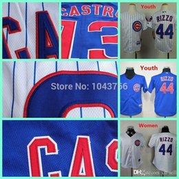 Wholesale 2016 New Cheap Sale white youth Anthony Rizzo baseball jersey white women pinstrip blue boys Anthony Rizzo Jersey display