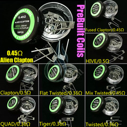 Wholesale Alien Fused Clapton Flat Mix Twisted Hive Quad Tiger Types Pre Build Coils Heating Resistance wires Vapor RDA premade atomizers DHL free