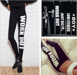Wholesale Fashion Winter Warm Women Sports Printed Legging Pants Crisps Work out Letter Print Black Casual Sexy Bottom Fitness Leggings