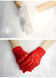 Wholesale Cheap Short Black Gloves - New Fashion Black Red White Wedding Gloves Bridal Glove See Through Full Lace Wedding Accessories Short Wedding Gloves Cheap In Stock Z