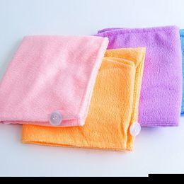 Wholesale Bamboo Fiber Hair drying Tower Magic Bath Microfiber Shower cap women Hair Dry Hat Super thick water absorb cm Bath Caps Towel Free DHL