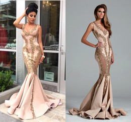Vestidos De Noiva 2018 Saudi Arabia Dubai Evening Dresses Sexy V Neck Gold Sequins Backless Mermaid Prom Gowns Plus Size Party Dress BA1063
