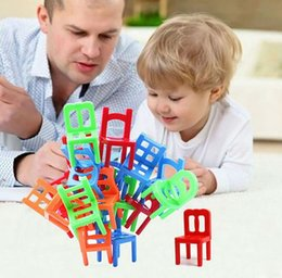 Wholesale 18X Plastic Balance Game Stacking Chairs As High As They Can Without Falling Kids Children Activity Toys