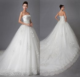 Wholesale 2016 Elegant Lace Strapless Wedding Dresses A line Stain Rhinestone Crystal Beading Chapel Train Lace up Bridal Gowns Affordable