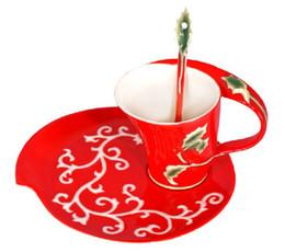 Coupe Fleur gros-européenne Porcelaine Bone China émail de Noël Creative Café Tea Cup Set Franc peinture Mode Set, livraison gratuite à partir de thé floraison gros en chine fabricateur