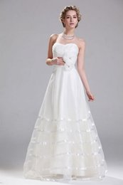 Wholesale Mass Production Sweetheart Tiered Organza Flower Waist Plus Size A Line Bridal Dresses Christmas Discount