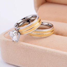 Wholesale Fashion lovers k gold sand L stainless steel cz diamond stone inlaid couple finger rings jewelry SR0494