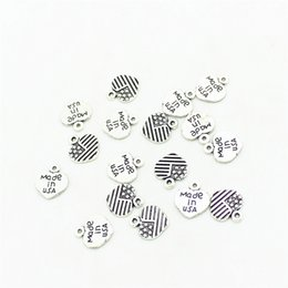 Wholesale 100pcs mm Antique Silver Plated Heart Made in USA Flag Charms Pendants for Jewelry Making DIY Handmade Craft D1007
