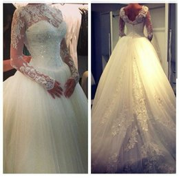 Custom Made Long Sleeve Wedding Dresses 2019 Bridal Gown With Open Back Lace Bodice Plus Size Tulle