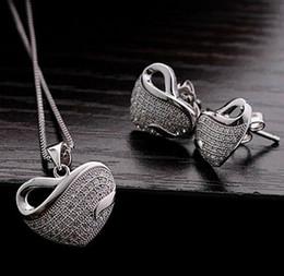 Fine Jewelry White Gold Tone Clear Rhinestone Crystal Diamante Heart Pendants Wedding Necklace Stud Earrings Jewelry Sets