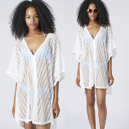 Wholesale Bulk New Hot Womens Lace Bikini Coverups Blouse for Beach White Batwing sleeved Hollow Out Casual Boho Vacation Beachwear Dress