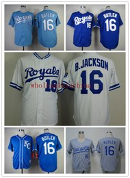 Wholesale Royals Baseball Jerseys Men B JACKSON M N White Dark baby Blue Grey Jerseys stitched Top quality Mix Order Free Fast Shipping