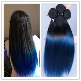 wholesale 3pcs lot ombre blue straight Malaysian blue hair weaving 1b blue two tone hair extensions for black women Free Shipping