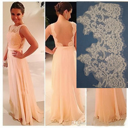 Bridesmaid Dresses 2015 in Alencon Trimming Lace Floor Length A Line Bateau Neckline Chiffon Party Dresses with Sheer Back dhyz 01