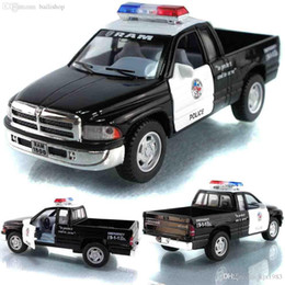 Wholesale Cool Toy Police Cars - Wholesale-Cool New Classic Toys Pull Back Alloy Car Model Dodge Ram Pickup Police Car Police Car Toy Boy Toys For Baby Gift Scale 1:43