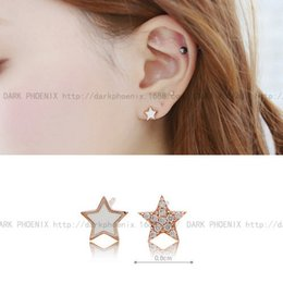 Korean star with money overall S925 simple silver star earrings earrings asymmetric Micro Pave Epoxy AE905