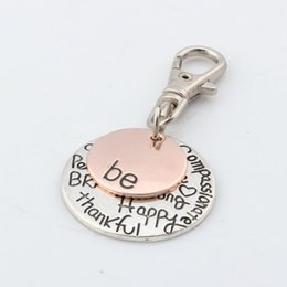 Wholesale Hot Antique Silver Alloy quot Be quot Happy Strong Thankfull Charm With lobster clasp DIY Jewelry mm