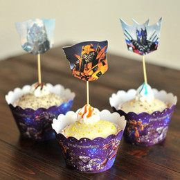 Free Shipping Transformers Optimus Prime cupcake wrappers toppers cake picks for boys kids birthday party decorations supplies