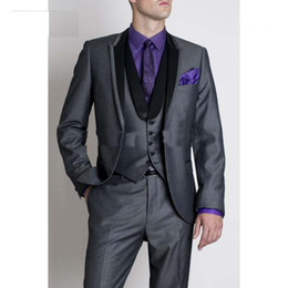 Wholesale-custom made high quality 3 piece black men's suits wedding suits western wedding tuxedos business suits western wedding