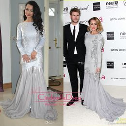 Wholesale 2015 Vestidos Miley Cyrus Silver Long Sleeves Tulle Beading Mermaid Prom Dress Elton John Oscar Party EWL217