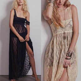 2014 Summer Fashion Women Vintage See Through Lace Maxi Beach Dress Sundress