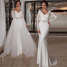 Two in One Wedding Dresses with Long Sleeve Detachable Train Tulle Crystals V Neck Floor Length 2019 Fall Winter Lace Bridal Wedding Gowns