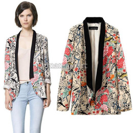 2014 New Vintage Casual Women Lady Long Sleeve jackets Suit Outwear Floral Blazer Kimono Coat Plus Size B11 SV005042