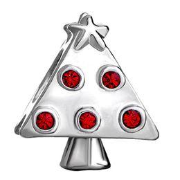 10pcs per lot Rhodium Plating Red Crystal Rhinestone Christmas Tree European Beads Charm For Pandora Bracelet