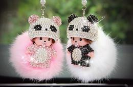 Coche espejo decorativo en Línea-Moda Sombreros Panda Monchhchi Diamante Cristal Con Fox Car Ornaments Espejo Retrovisor Del Coche Colgante Interior Decorativo 2016 Regalo De La Venta Caliente Baratos