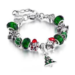 Christmas Bracelet European Charms Jewelry Silver Green Crystal Beads Fit European Bracelet For Women AA75