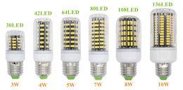 E27 E26 E14 GU10 G9 B22 LED Light Office Corn Bulb Super Bright 5733 SMD 7W 12W 18W 22W 25W 35W 136 LEDs Warm White Via DHL