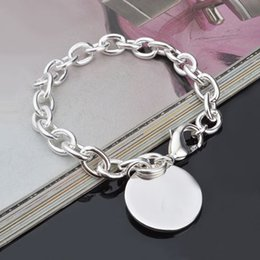 Women's Silver Plated Round Charm Chain Link Bangle Bracelet Jewelry 2MTO 4PNG