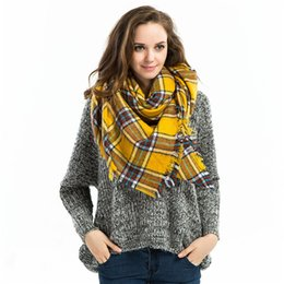 wholesale New 2015 hot sale Lady Women Blanket yellow Color Cozy Checked Tartan Scarf Wraps shawl pashmina Christmas party price