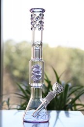 Beaker bongs new design glass water pipe radiant purple glass bong manufacture glass water bong thickness beaded around cool look oil rig
